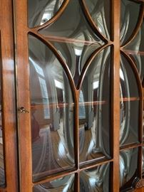 "Mahogany breakfront/secretary with inlay & unique bubble glass ( 84"" H x 72"" W x 14"" D)"