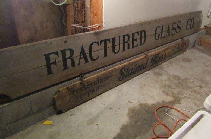 Large Vintage Wooden Traverse City Glass Sign