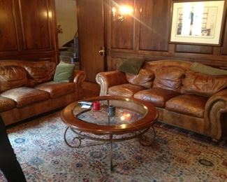 Ethan Allen leather couches