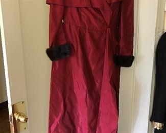 Evening dress with mink cuffs