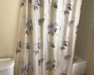 Floral shower curtain with matching towels
