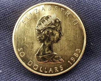 #5: 1983 $50 Maple Leaf 1oz. Fine Gold Coin 1983 $50 Maple Leaf 1oz. Fine Gold Coin