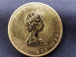 #6: 1986 $50 Maple Leaf 1oz. Fine Gold Coin 1986 $50 Maple Leaf 1oz. Fine Gold Coin