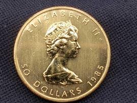 #7: 1985 $50 Maple Leaf 1oz. Fine Gold Coin 1985 $50 Maple Leaf 1oz. Fine Gold Coin