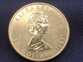 #9: 1987 $50 Maple Leaf 1oz Fine Gold Coin 1987 $50 Maple Leaf 1oz Fine Gold Coin