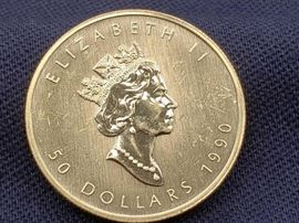 #10: 1990 $50 Maple Leaf Fine Gold Coin 1990 $50 Maple Leaf Fine Gold Coin