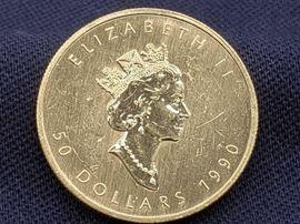 # 11 1990 $50 Maple Leaf 1oz Fine Gold Coin 1990 $50 Maple Leaf 1oz Fine Gold Coin