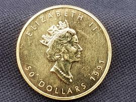#13 1991 $50 Maple Leaf 1oz. Fine Gold Coin 1991 $50 Maple Leaf 1oz. Fine Gold Coin