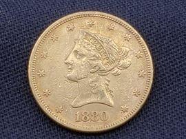 #15 1880 $10 Liberty Head .900 Gold Coin, 16.7g 1880 $10 Liberty Head .900 Gold Coin, 16.7g
