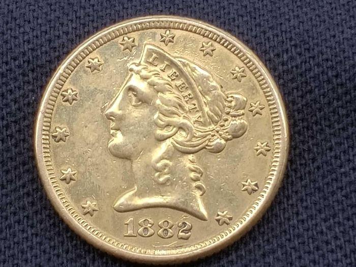 #16 1882 Liberty Head .900 Gold Coin, 8.3g 1882 Liberty Head .900 Gold Coin, 8.3g
