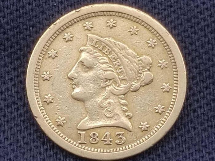 #17: 1843 $2 1/2 Liberty Head .900 Gold Coin, 4g 1843 $2 1/2 Liberty Head .900 Gold Coin, 4g