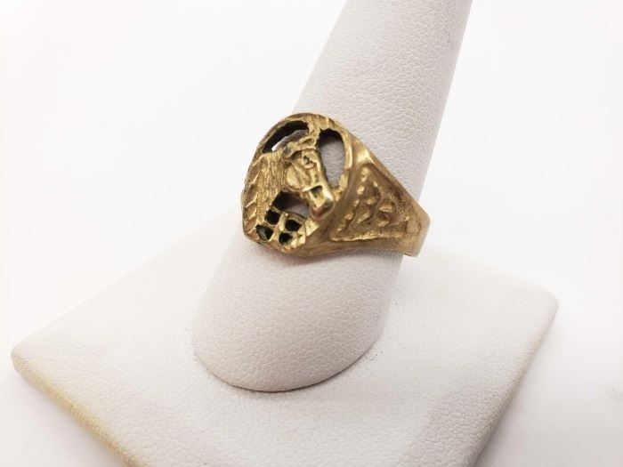 #44: 14K Gold Ring Equestrian Style, 4.2 grams size 10 14K Gold Ring Equestrian Style, 4.2 grams size 10