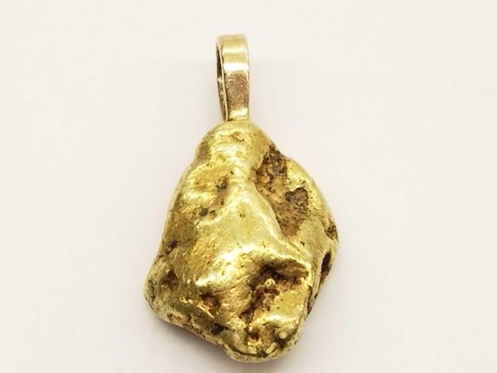 # 48 Gold Nugget Pendant, Tested At 22k, 9.4g Gold Nugget Pendant, Tested At 22k, 9.4g