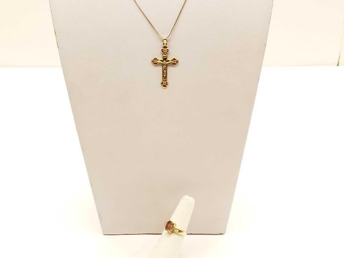 #49: White Gold Necklace 14k, Gold Cross Pendant 14k, Gold Ring Tested At 14k Size 5 1/2, 9.3g White Gold Necklace 14k, Gold Cross Pendant 14k, Gold Ring Tested At 14k Size 5 1/2, 9.3g