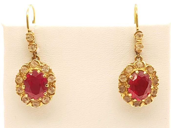 #54: 10k Gold Earings, 7.9g, Ruby 10k Gold Earings, 7.9g, Ruby