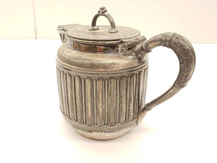 # 81 Rogers  Bro. Triple Plate Tea Pot 425 Hard whit Metal Rogers  Bro. Triple Plate Tea Pot 425 Hard whit Metal