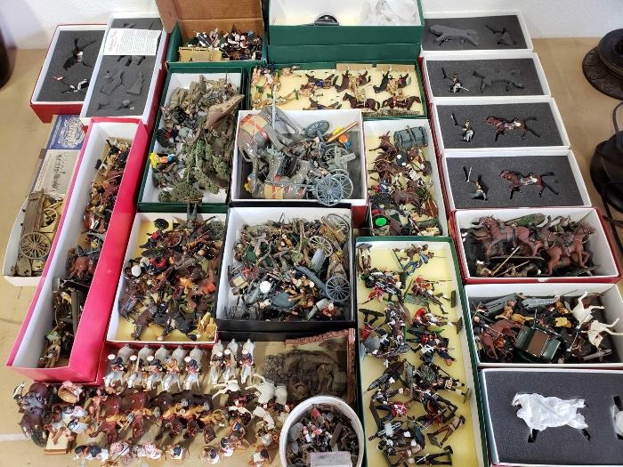 # 202 Over 100 Metal Soldier Figures and Other War Figures, with Boxes Over 100 Metal Soldier Figures and Other War Figures, with Boxes
