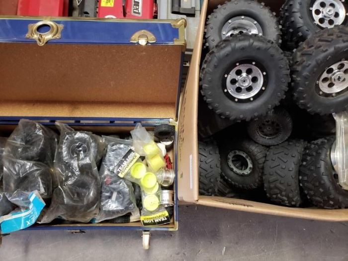 # 232 Box and Chest Full of New and Used RC Wheels and Tires Metal and plastic wheels
