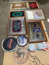 # 273 Beer mirrors, tray, Seagrams sign and more Beer mirrors, tray, Seagrams sign and more