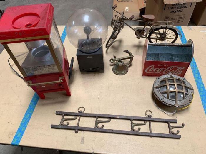 # 277 Coca Cola six pack rack, brass underwater light, popcorn machine, small popcorn machine and more Coca Cola six pack rack, brass underwater light, popcorn machine, small popcorn machine and more