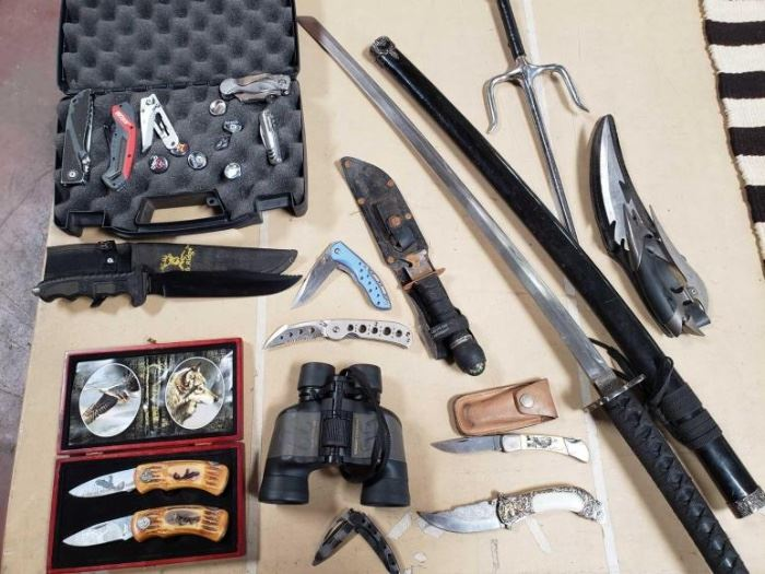 # 281 Misc Knives, Sword, and Binoculars. Smith  Wesson, Wild Outdoors, Sabre, and More Misc Knives, Sword, and Binoculars. Smith  Wesson, Wild Outdoors, Sabre, and More