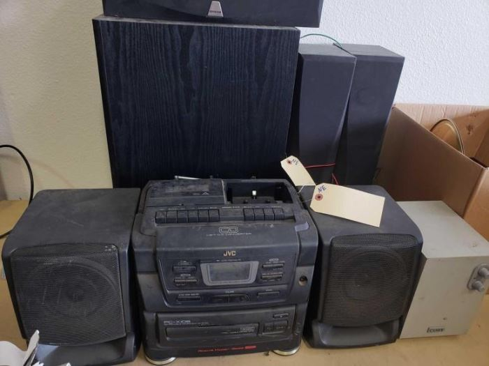 306 JVC Boom Box, Onkyo and Coby Speakers JVC Boom Box, Onkyo and Coby Speakers