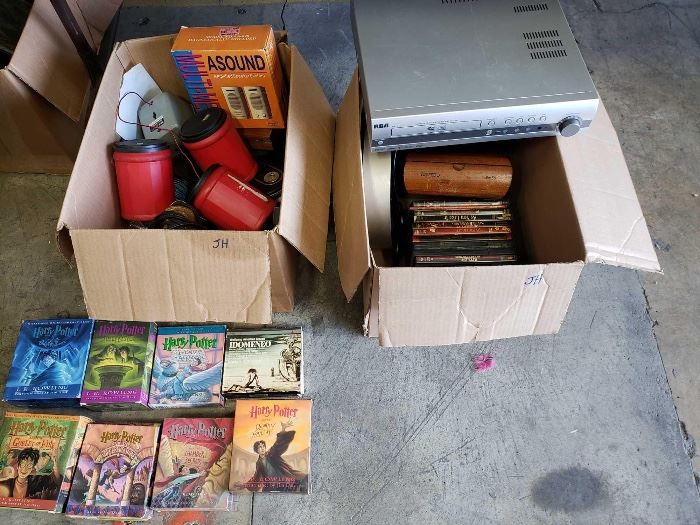 # 405 Harry Potter Cds Unabridged, 2 boxes of electronics, RCA progressive scan DVD player., Disc Man, speakers Harry Potter Cds Unabridged, 2 boxes of electronics, RCA progressive scan DVD player., Disc Man, speakers