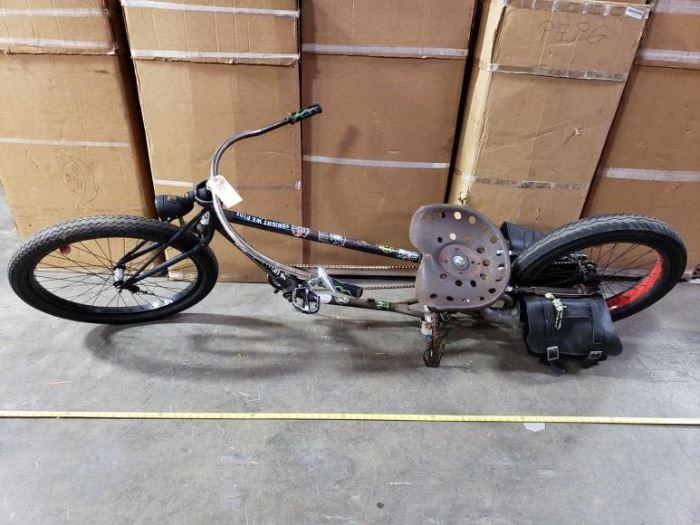 # 501 8 Foot Custom Cruiser Bagger Bike with Vintage Tractor Seat 8 Foot Custom Cruiser Bagger Bike with Vintage Tractor Seat
