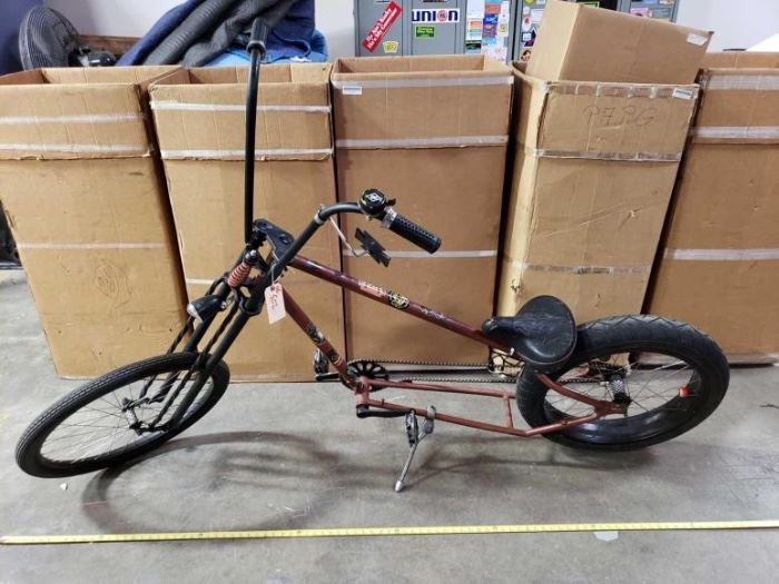 # 502 7 Foot Chopper Style Springer Front End Bike , with Ape Hanger Bars ready to ride. 7 Foot Chopper Style Springer Front End Bike , with Ape Hanger Bars ready to ride.