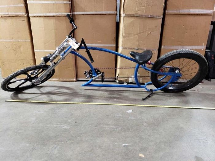 # 504 8 Foot Custom Springer Chopper Style Big Wheel Bicycle Ready to Ride, Custom Forks and Frame 8 Foot Custom Springer Chopper Style Big Wheel Bicycle Ready to Ride, Custom Forks and Frame