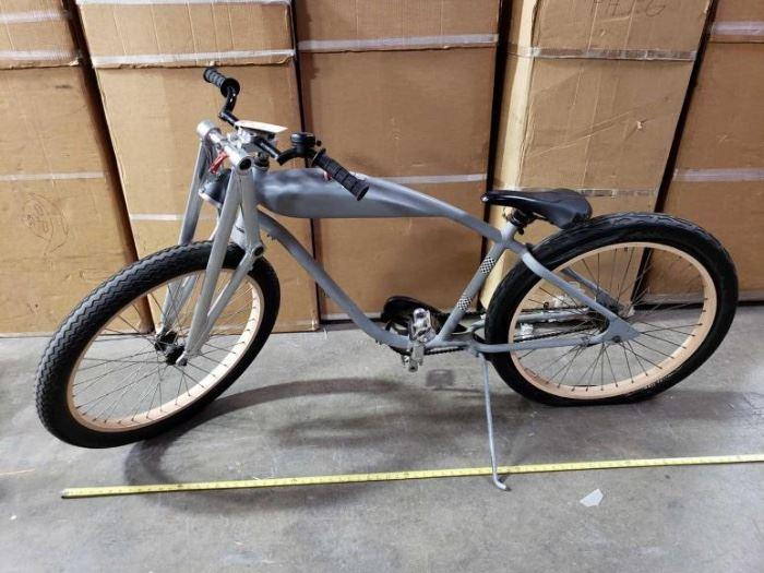 # 505 6 Foot Custom Big Wheel Cruiser Bicycle with Custom Forks 6 Foot Custom Big Wheel Cruiser Bicycle with Custom Forks