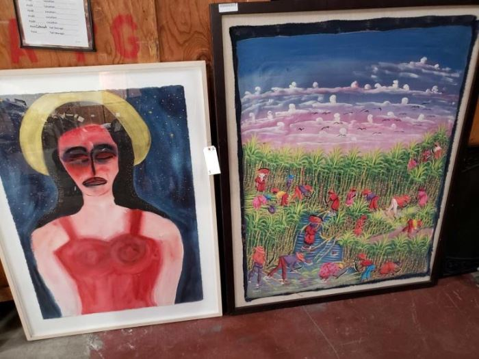"#603: Framed Artwork 2 Framed Art Pieces, Sizes 49'' x 37'' And 45"" x 57"
