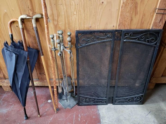 604 Bronze Fireplace Tools, Fireplace Screen, Wooden Canes Bronze Fireplace Tools, Fireplace Screen, Wooden Canes