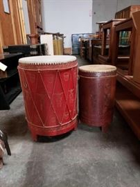 "#701: 2 Asian Drums with Leather Top Approximately 24"" tall and 17"" round"