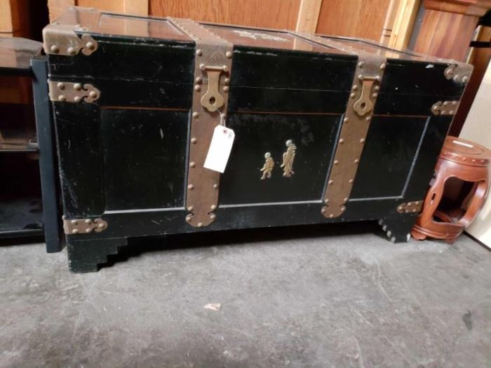 "#703: Large Asian cedar Vintage Trunk Measures 27"" tall 48"" long and 24"" deep"