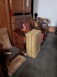 # 705 9 Pieces of Vintage Furniture Vintage furniture including Chairs and footstools