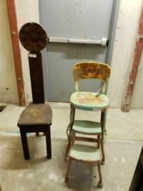 "#708: 2 Vintage Chairs 48"" tall us the Tallest Chair"
