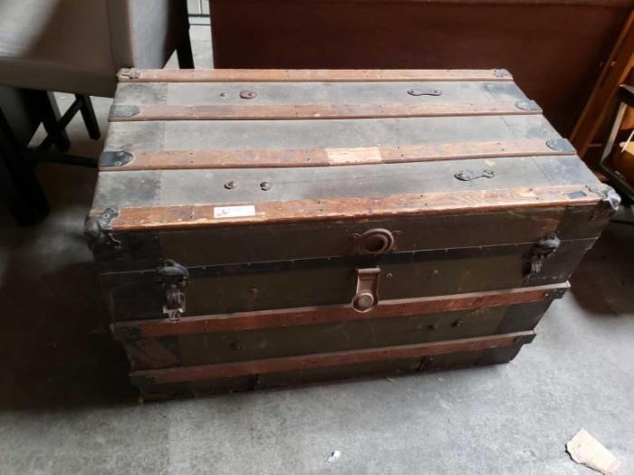"#729: Vintage Trunk Measures 24"" tall 38"" long one 21"" deep"