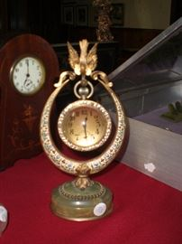 """FRENCH 3"""" DIAMETER CRYSTAL BALL WATCH/CLOCK SUSPENDED IN A DORE' BRONZE ENAMELED STAND HELD IN THE BEAK OF A BIRD ON AN ONYX PLATFORM. TREMENDOUS!!"""