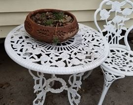 Patio rod iron ice cream table and 2 chairs