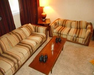 1970's Sleeper Sofa, Love Seat. Morganton Mid Century surf board table/shelf,