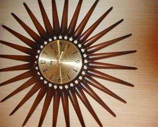 Mid Century Star Burst Clock