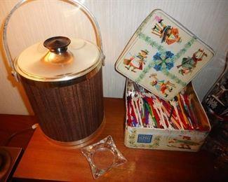 Mid Century Kromex Ice Bucket. Vintage Tin, Vintage Swizel Sticks