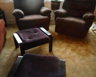 Mid Century Bench's. 2 Micro Fiber Over Stuffed Recliners from Carsons