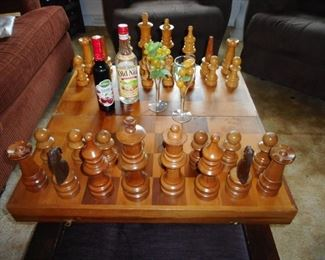 Mid Century Table Top Chess Set. Folds