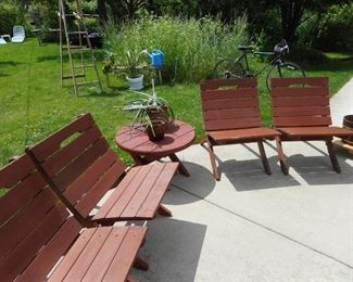 Vintage Red Wood Patio Chairs, Table