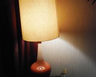 Mid Century Orange White Glaze Table Lamp Original Shade