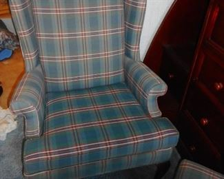 Vintage Wing Back Chair Conover North Carolina  with Ottoman (2 chairs