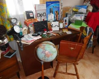 Desk Office Items, Vintage World Globe on Stand