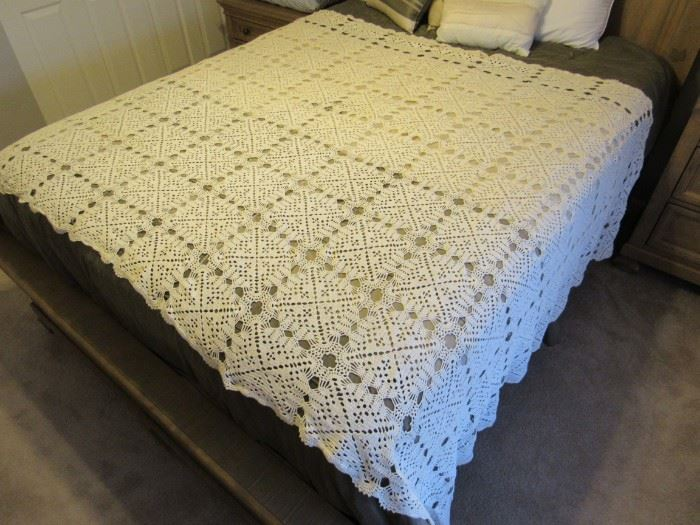 There is more than one hand crochet bedspreads - very nice condition.